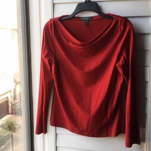 Neverworn red Ralph Lauren long sleeve top